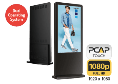 Infrared Freestanding Touch Screen Posters With Dual OS